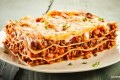 4 layer cheese lasagna baked with mozzarella cheese